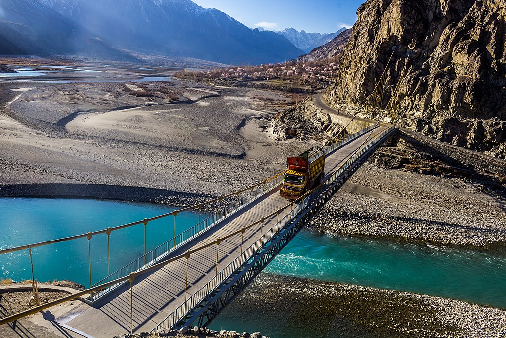 Truck on Kanchey Bridge crossing Gilgit River - All about Gilgit Valley - Famous Places to visit in Gilgit Baltistan