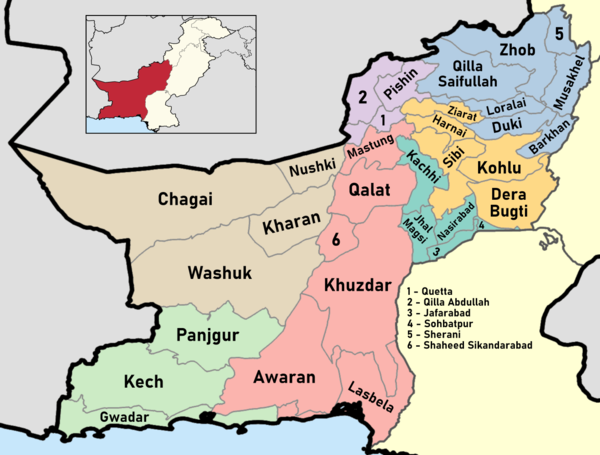 Districts of Balochistan Pakistan with district names - The Balochistan Province